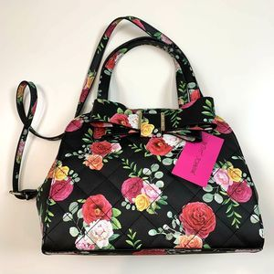 Betsey Johnson Dome Satchel Bow Black Floral
